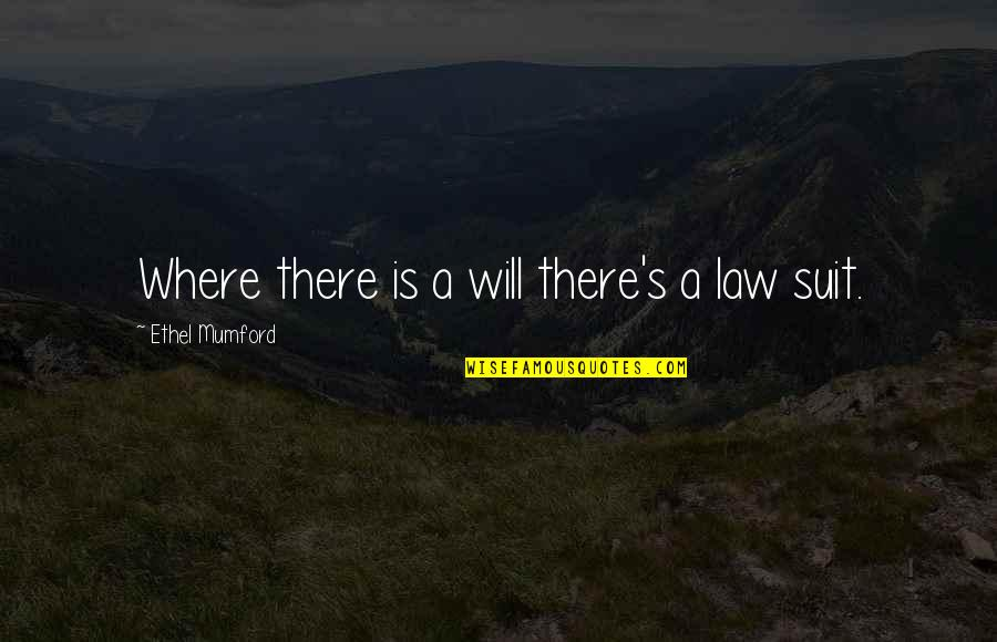 Stata Local Quotes By Ethel Mumford: Where there is a will there's a law