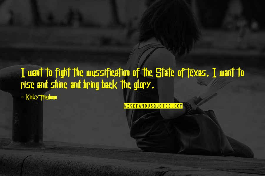 State Of Texas Quotes By Kinky Friedman: I want to fight the wussification of the