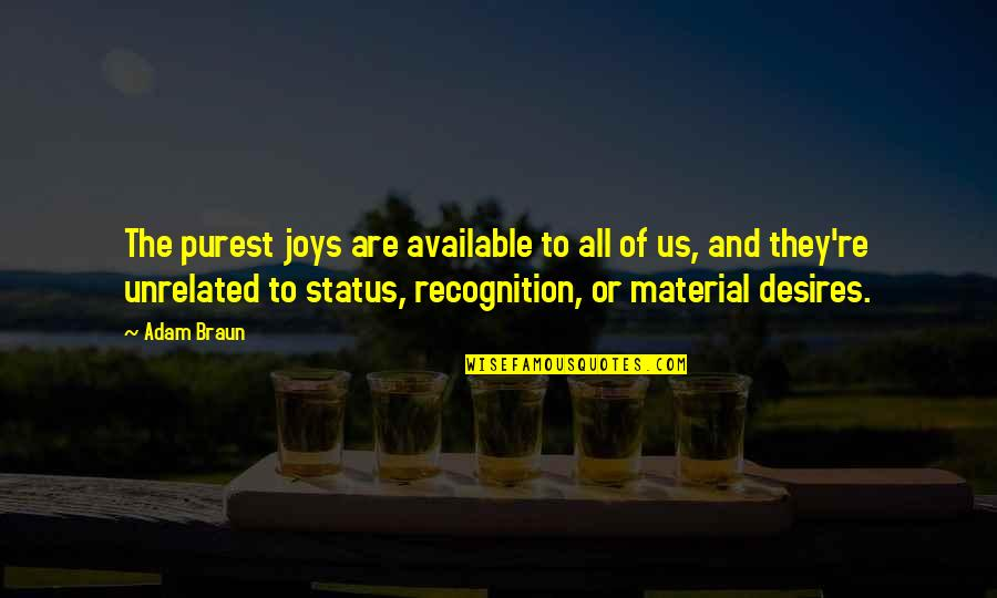 Status In Life Quotes By Adam Braun: The purest joys are available to all of