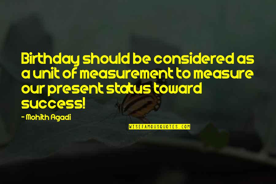 Status In Life Quotes By Mohith Agadi: Birthday should be considered as a unit of