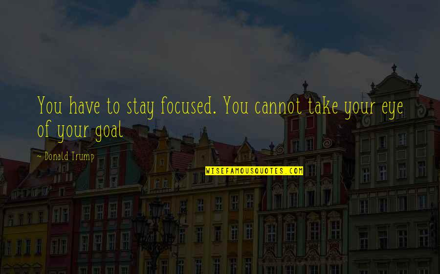 Stay Focused Quotes By Donald Trump: You have to stay focused. You cannot take