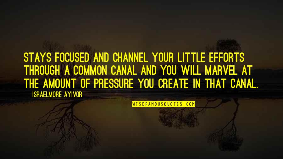 Stay Focused Quotes By Israelmore Ayivor: Stays focused and channel your little efforts through