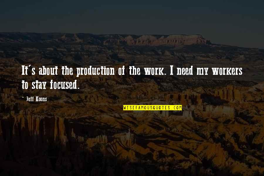 Stay Focused Quotes By Jeff Koons: It's about the production of the work. I