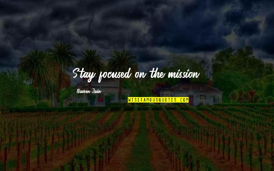 Stay Focused Quotes By Naveen Jain: Stay focused on the mission.