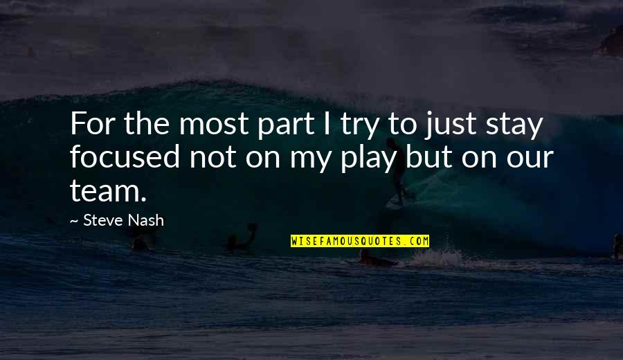 Stay Focused Quotes By Steve Nash: For the most part I try to just