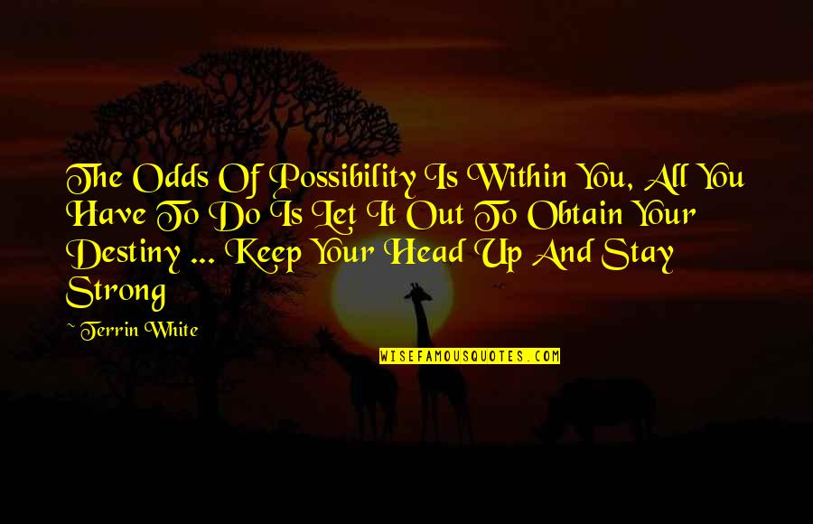 Stay Strong And Quotes By Terrin White: The Odds Of Possibility Is Within You, All