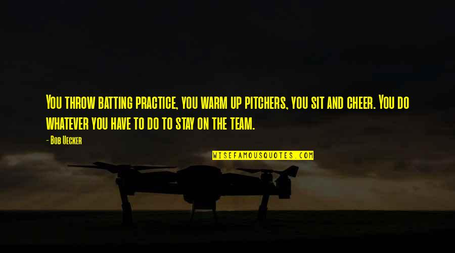 Stay Warm Quotes By Bob Uecker: You throw batting practice, you warm up pitchers,