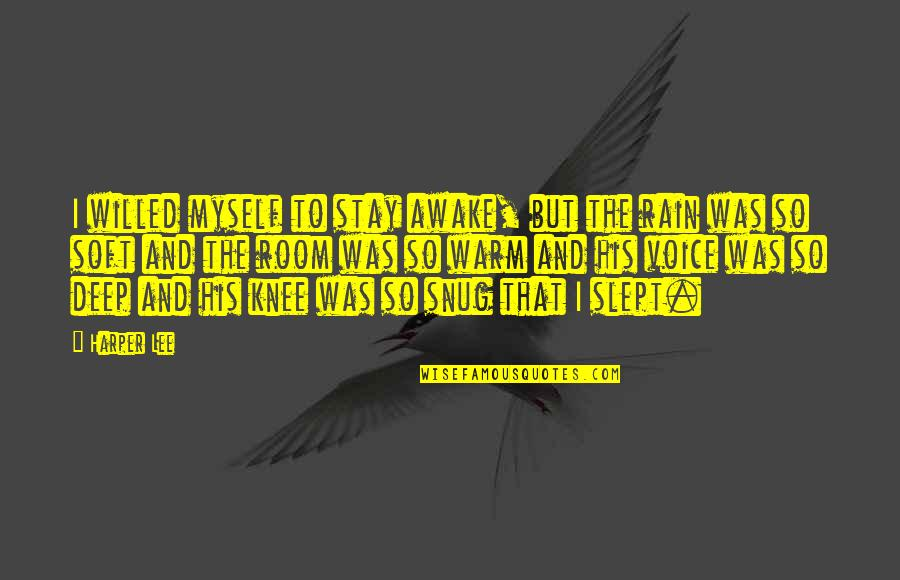 Stay Warm Quotes By Harper Lee: I willed myself to stay awake, but the