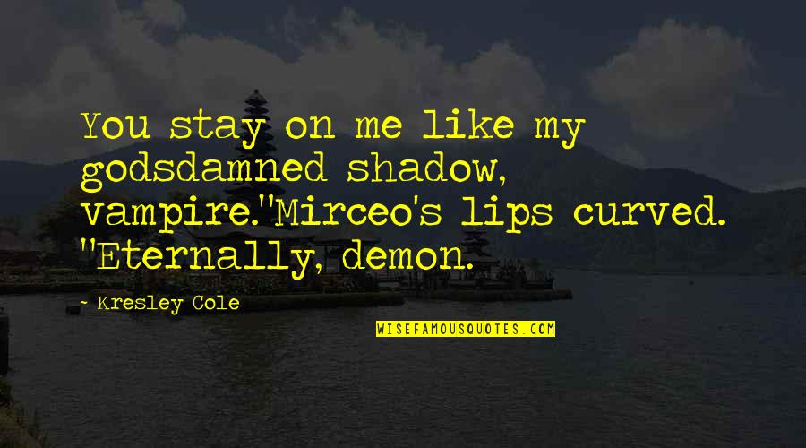 Stay With Me I Love You Quotes By Kresley Cole: You stay on me like my godsdamned shadow,