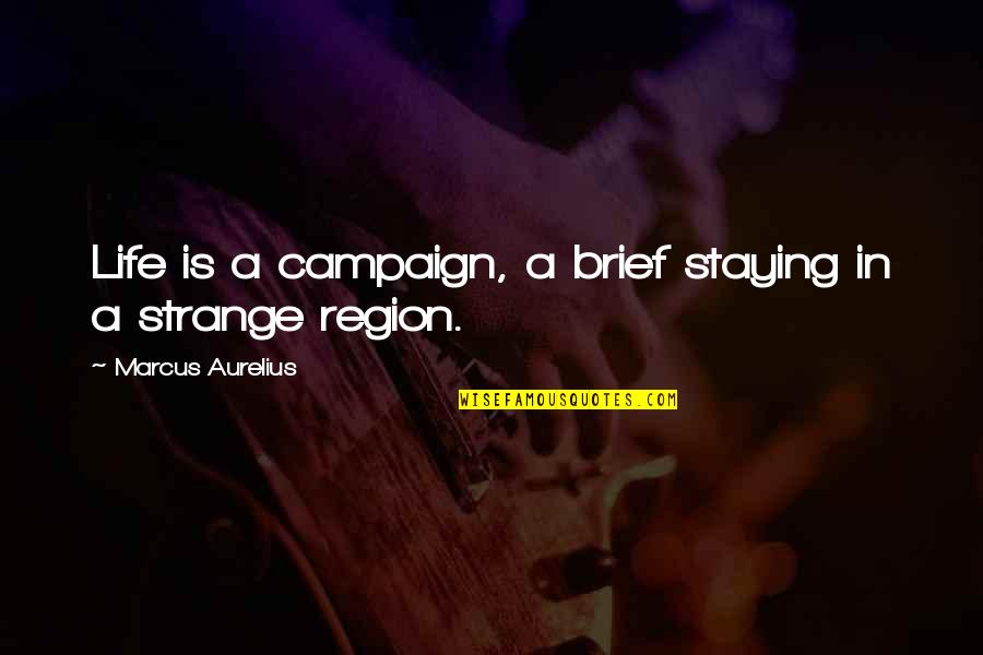 Staying In Quotes By Marcus Aurelius: Life is a campaign, a brief staying in