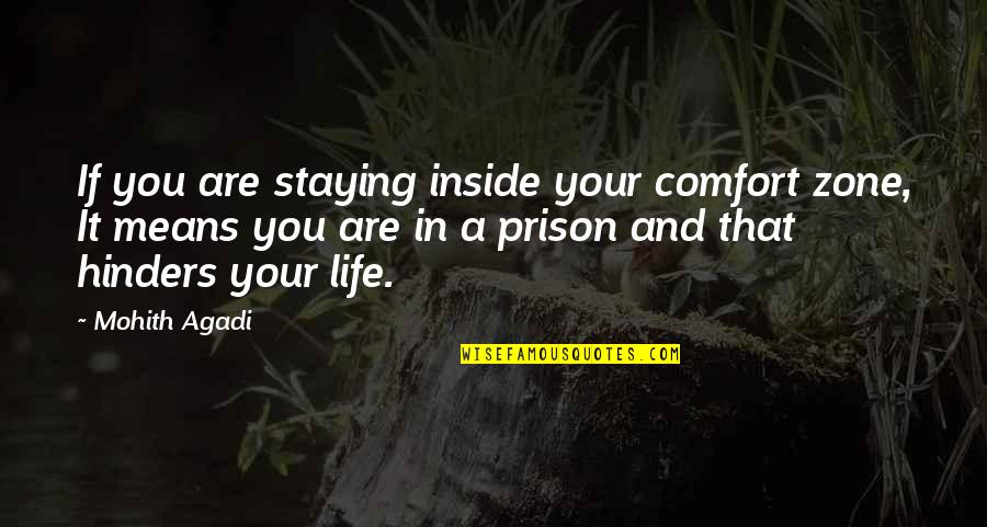 Staying In Quotes By Mohith Agadi: If you are staying inside your comfort zone,
