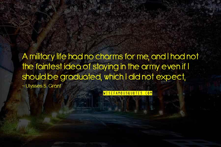 Staying In Quotes By Ulysses S. Grant: A military life had no charms for me,