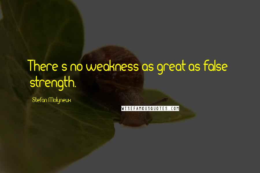 Stefan Molyneux quotes: There's no weakness as great as false strength.
