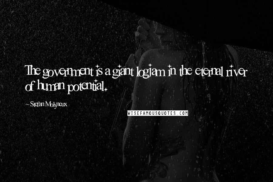 Stefan Molyneux quotes: The government is a giant logjam in the eternal river of human potential.