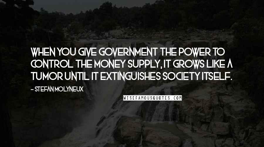 Stefan Molyneux quotes: When you give government the power to control the money supply, it grows like a tumor until it extinguishes society itself.