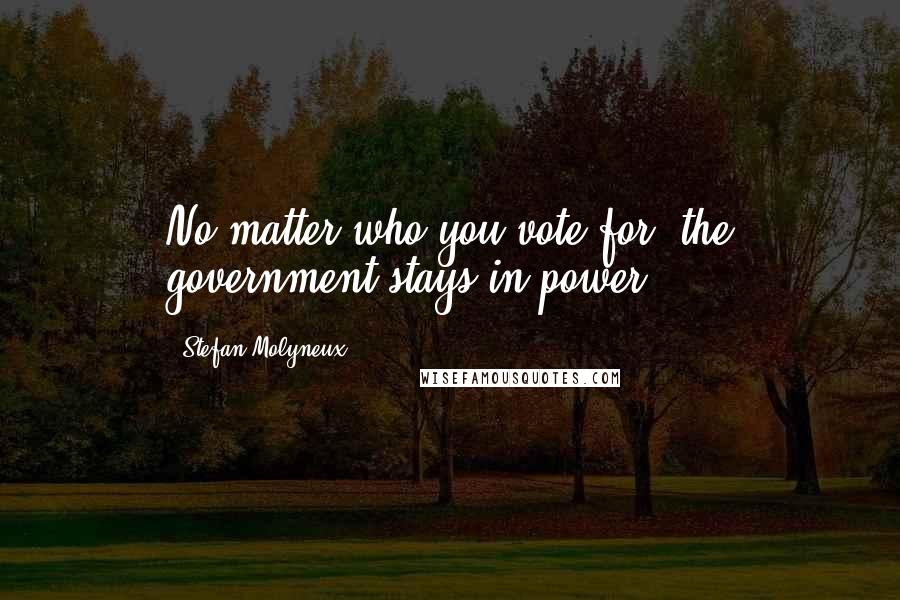 Stefan Molyneux quotes: No matter who you vote for, the government stays in power