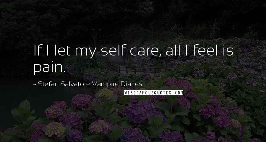 Stefan Salvatore Vampire Diaries quotes: If I let my self care, all I feel is pain.