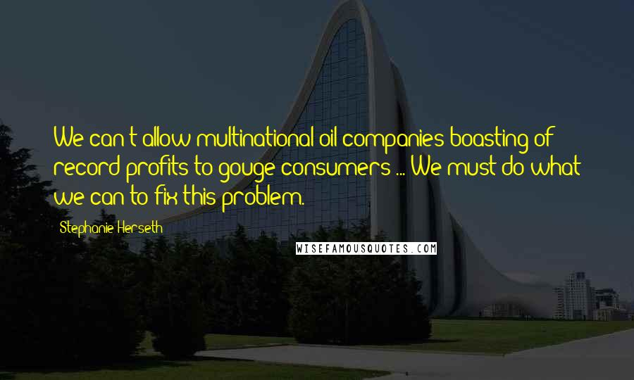 Stephanie Herseth quotes: We can't allow multinational oil companies boasting of record profits to gouge consumers ... We must do what we can to fix this problem.