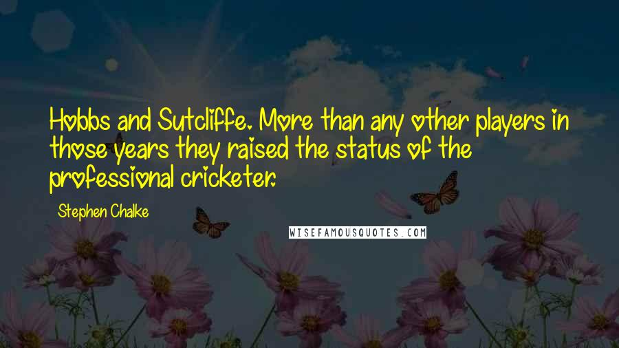 Stephen Chalke quotes: Hobbs and Sutcliffe. More than any other players in those years they raised the status of the professional cricketer.