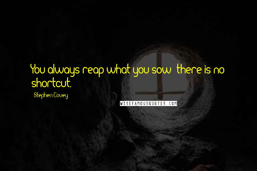 Stephen Covey quotes: You always reap what you sow; there is no shortcut.