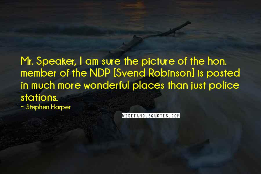 Stephen Harper quotes: Mr. Speaker, I am sure the picture of the hon. member of the NDP [Svend Robinson] is posted in much more wonderful places than just police stations.