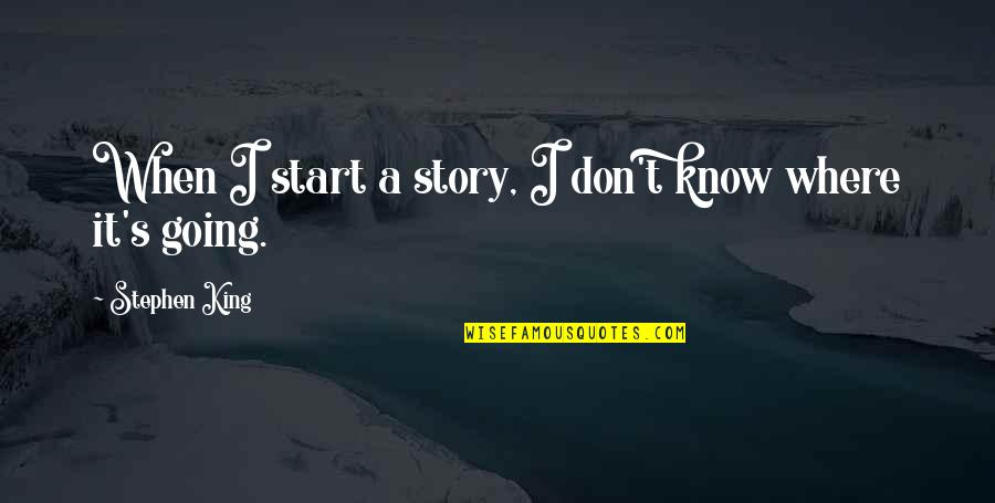 Stephen King Story Quotes By Stephen King: When I start a story, I don't know
