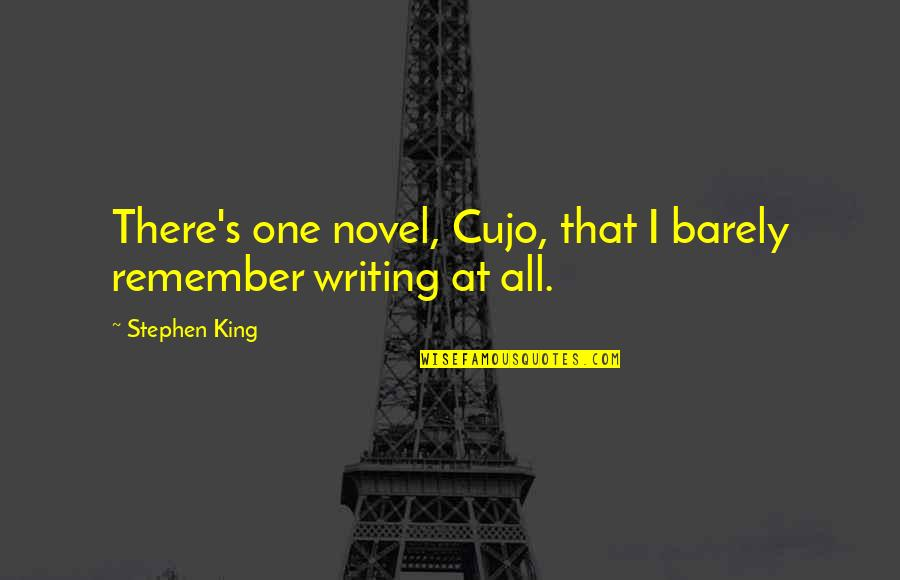 Stephen King's Writing Quotes By Stephen King: There's one novel, Cujo, that I barely remember