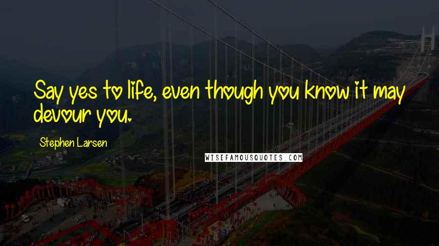 Stephen Larsen quotes: Say yes to life, even though you know it may devour you.