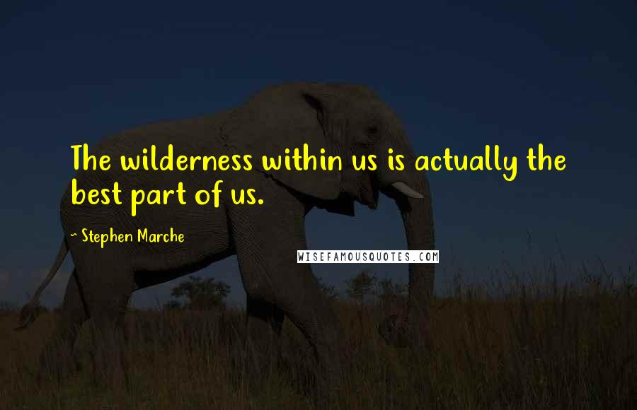 Stephen Marche quotes: The wilderness within us is actually the best part of us.