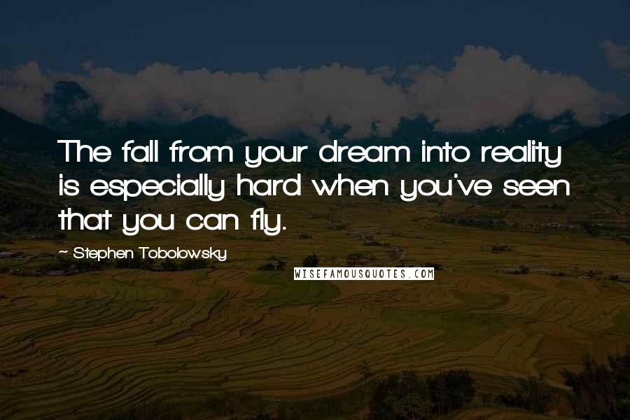Stephen Tobolowsky quotes: The fall from your dream into reality is especially hard when you've seen that you can fly.