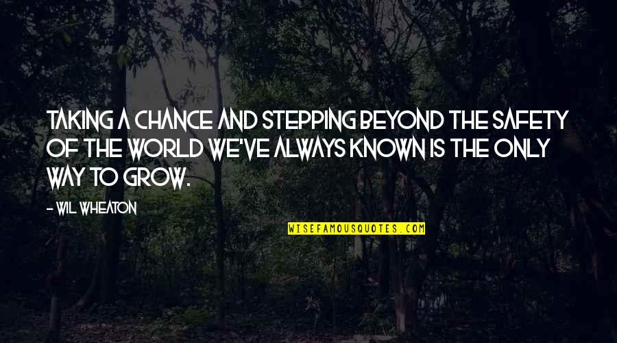 Stepping Out Into The World Quotes By Wil Wheaton: Taking a chance and stepping beyond the safety