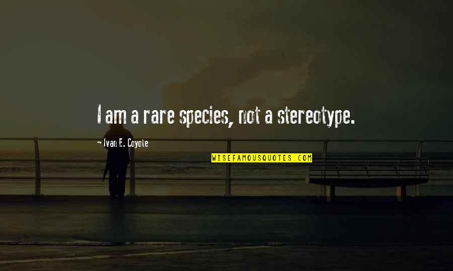 Stereotype Quotes By Ivan E. Coyote: I am a rare species, not a stereotype.