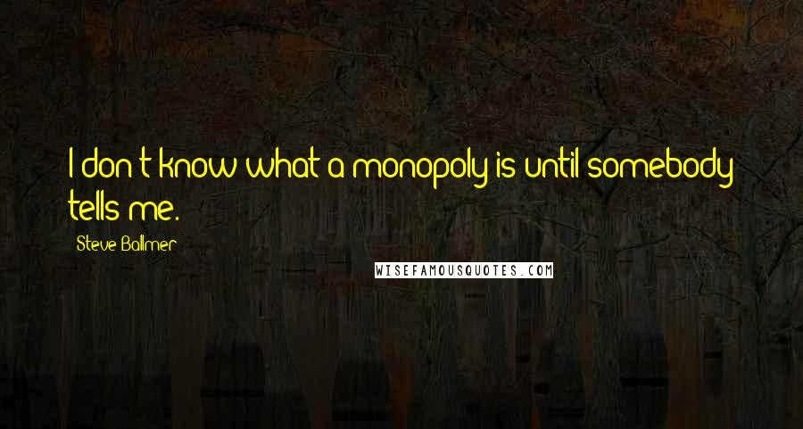 Steve Ballmer quotes: I don't know what a monopoly is until somebody tells me.