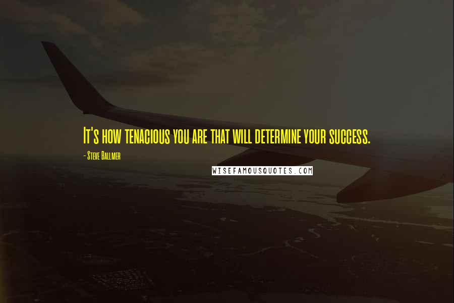 Steve Ballmer quotes: It's how tenacious you are that will determine your success.
