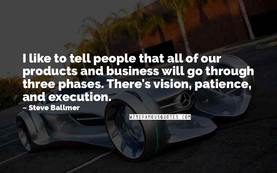 Steve Ballmer quotes: I like to tell people that all of our products and business will go through three phases. There's vision, patience, and execution.