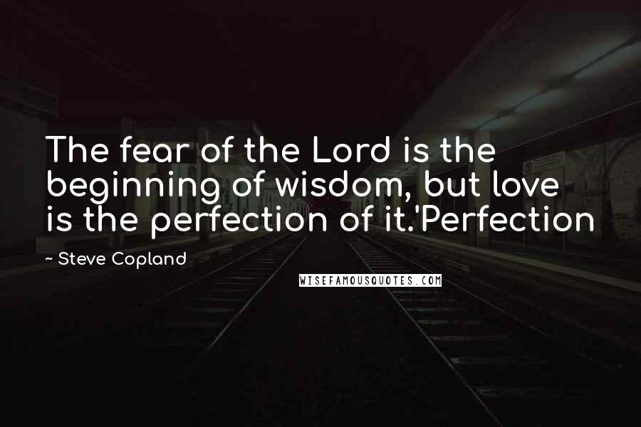 Steve Copland quotes: The fear of the Lord is the beginning of wisdom, but love is the perfection of it.'Perfection