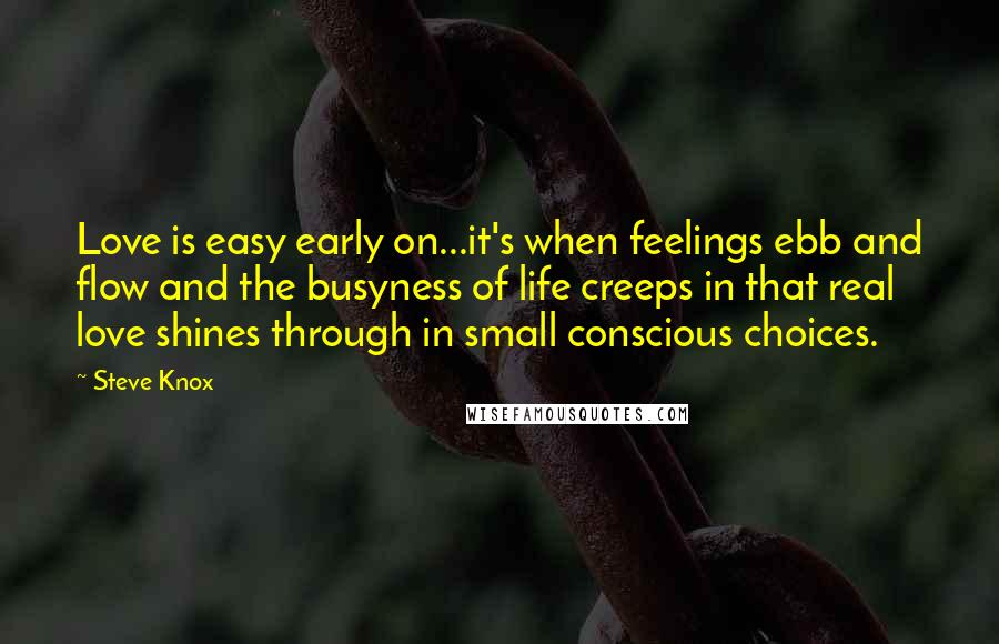 Steve Knox quotes: Love is easy early on...it's when feelings ebb and flow and the busyness of life creeps in that real love shines through in small conscious choices.
