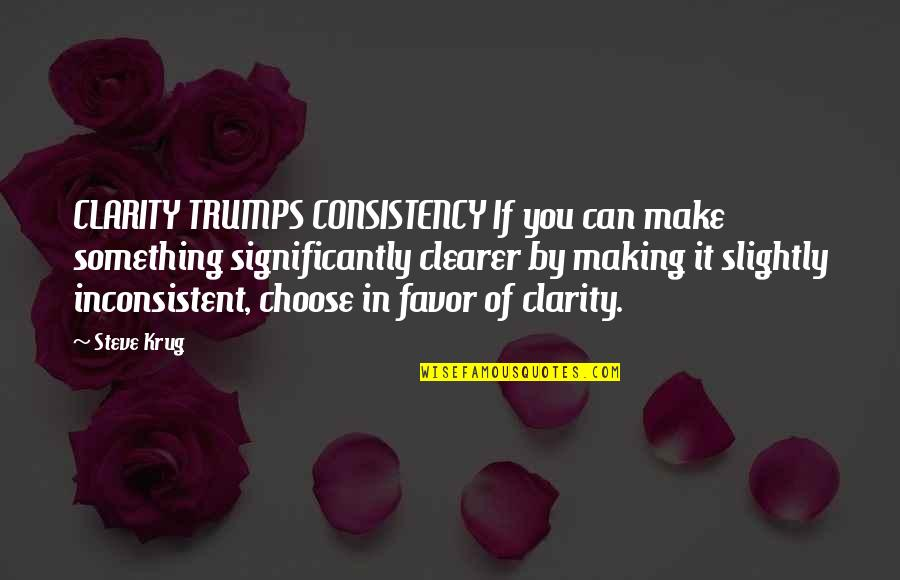 Steve Krug Quotes By Steve Krug: CLARITY TRUMPS CONSISTENCY If you can make something
