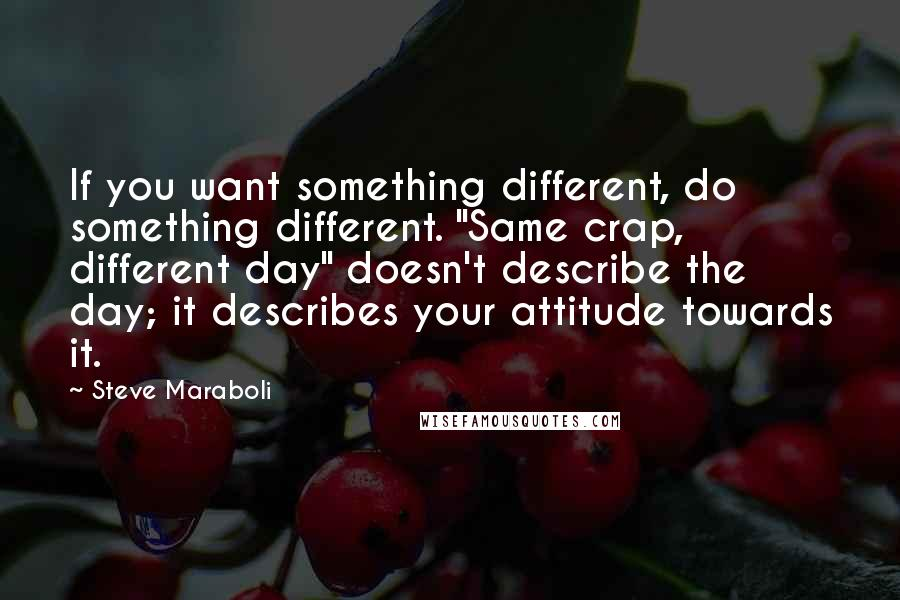 """Steve Maraboli quotes: If you want something different, do something different. """"Same crap, different day"""" doesn't describe the day; it describes your attitude towards it."""