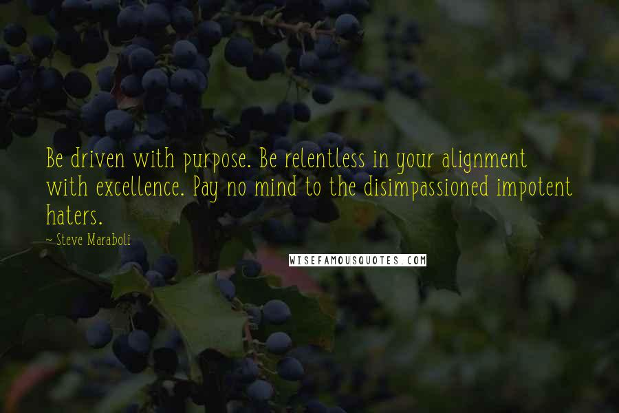 Steve Maraboli quotes: Be driven with purpose. Be relentless in your alignment with excellence. Pay no mind to the disimpassioned impotent haters.