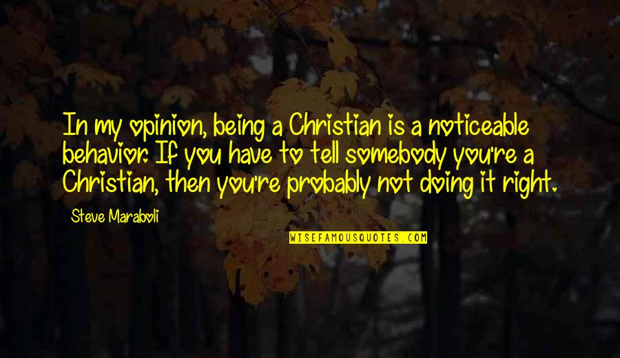 Steve Maraboli Quotes By Steve Maraboli: In my opinion, being a Christian is a