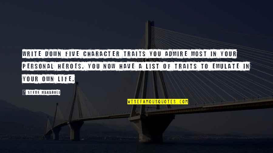 Steve Maraboli Quotes By Steve Maraboli: Write down five character traits you admire most
