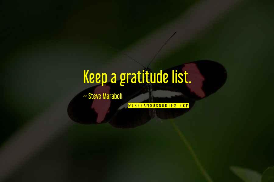 Steve Maraboli Quotes By Steve Maraboli: Keep a gratitude list.
