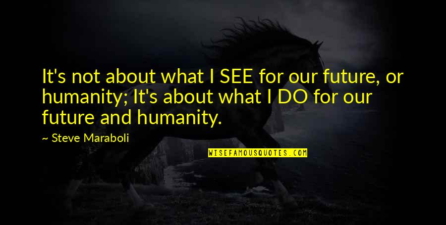 Steve Maraboli Quotes By Steve Maraboli: It's not about what I SEE for our