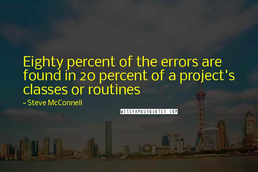 Steve McConnell quotes: Eighty percent of the errors are found in 20 percent of a project's classes or routines