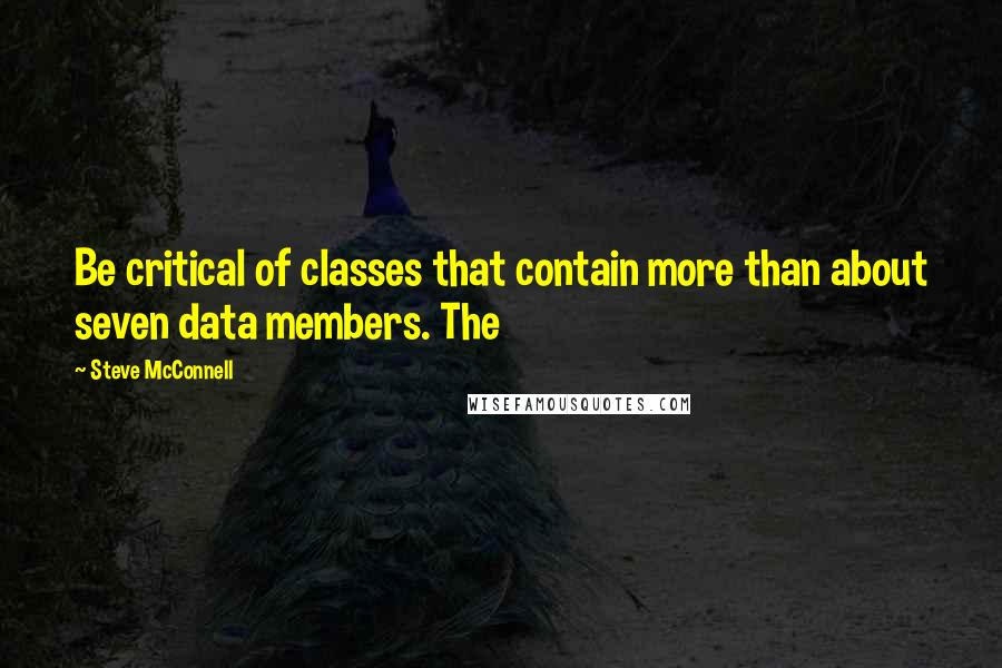 Steve McConnell quotes: Be critical of classes that contain more than about seven data members. The