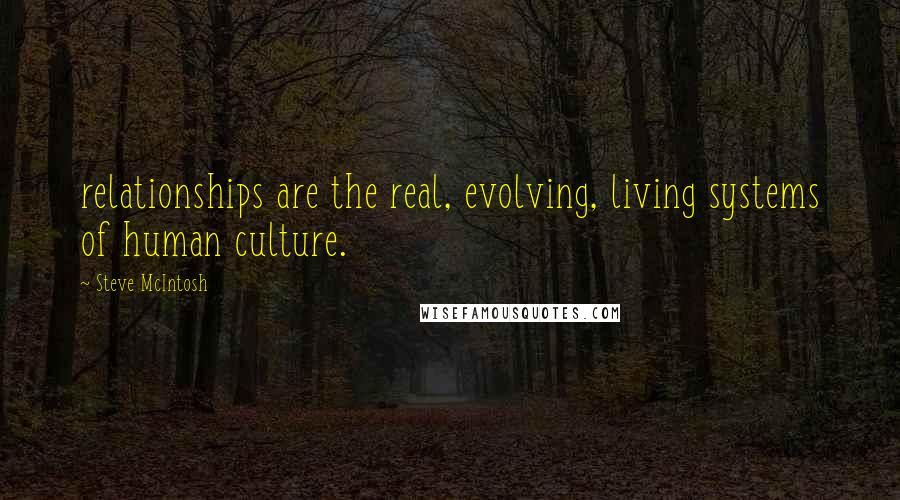 Steve McIntosh quotes: relationships are the real, evolving, living systems of human culture.