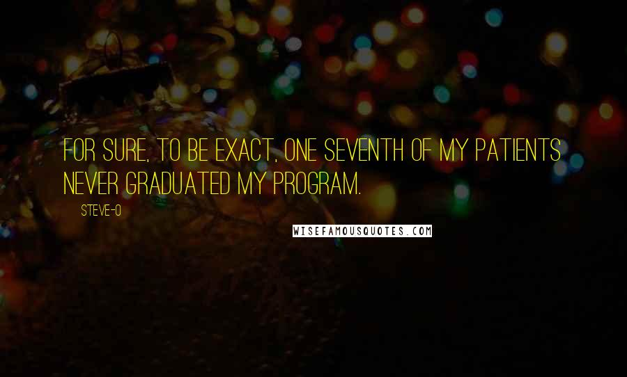 Steve-O quotes: For sure, to be exact, one seventh of my patients never graduated my program.