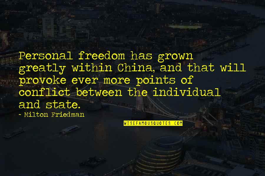 Steve Smith Quotes By Milton Friedman: Personal freedom has grown greatly within China, and