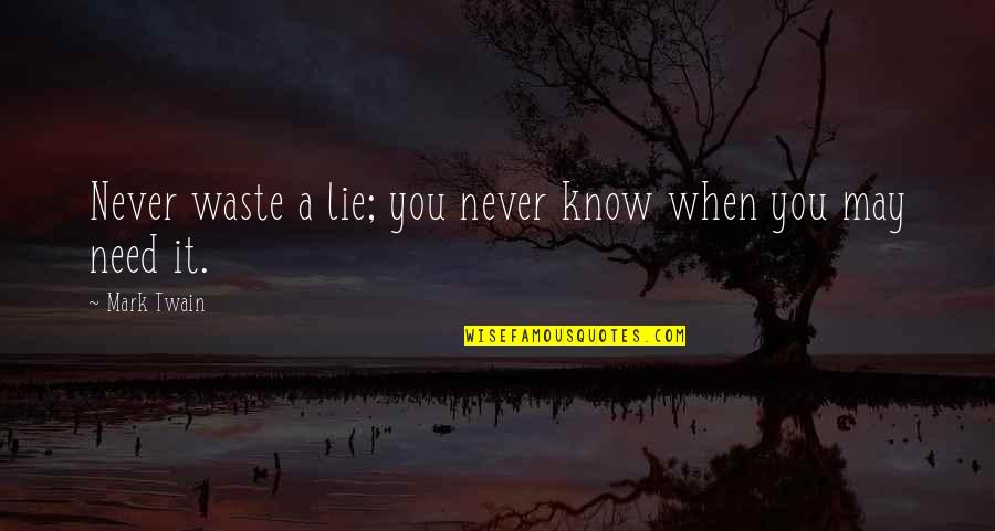 Steve Spangler Quotes By Mark Twain: Never waste a lie; you never know when